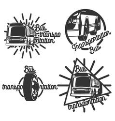 Vintage bus transportation emblems vector