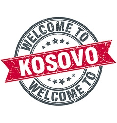 Welcome to Kosovo red round vintage stamp vector