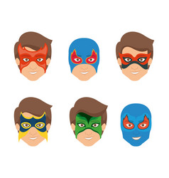 white background set face super hero men with mask vector image