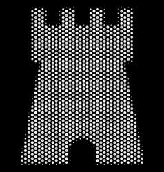 White halftone bulwark tower icon vector