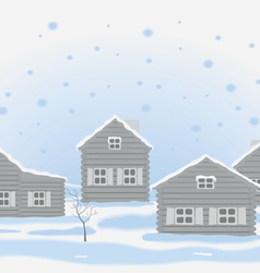 Winter landscape with wooden houses vector
