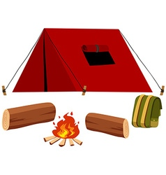 Camping set with tent and fire vector image