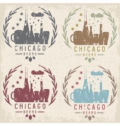 Chicago beer festival vintage grunge emblems set vector