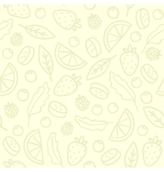 Doodle fruits and berries seamless pattern vector image vector image