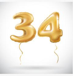 golden 34 number thirty four metallic balloon vector image vector image