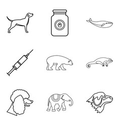 livestock icons set outline style vector image vector image