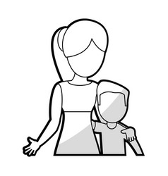 mother embrace son lovely vector image