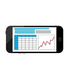 Business infographics image on a black smartphone vector image vector image
