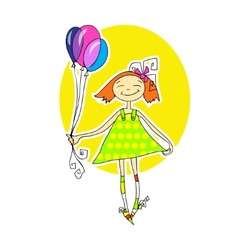 Cute little girl running with balloons vector image vector image