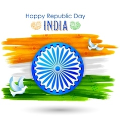 Dove flying with Indian tricolor flag showing vector image