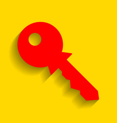 key sign red icon with soft vector image