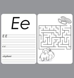 Alphabet a-z - puzzle worksheet - cute elephant vector