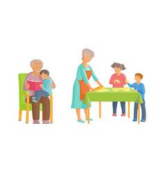 flat cartoon grandparents and children set vector image vector image