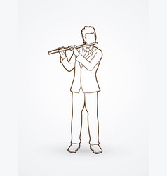 flutist player a man play flute classic music vector image vector image