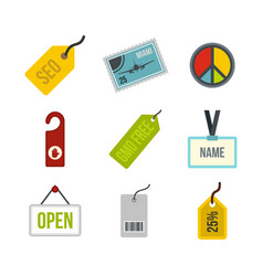 label icon set flat style vector image