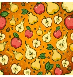 Seamless pattern with fruits and leaves of trees vector image