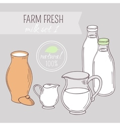 Set of hand drawn dairy farm objects vector image
