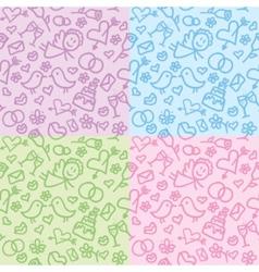 wedding patterns set vector image vector image
