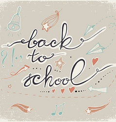 Back to School Doodles with bell starshearts and vector image