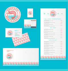 seafood restaurant logo and identity shrimp waves vector image vector image