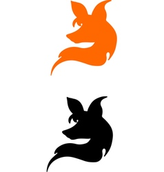 silhouette of a head of fox vector image vector image