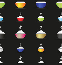 various color asian food bowl with hot rice food vector image vector image
