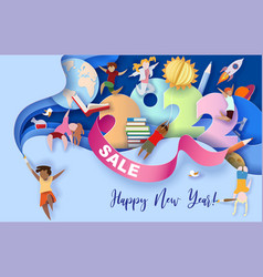 2022 new year design card with kids on blue vector
