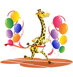 A giraffe running with colorful balloons vector