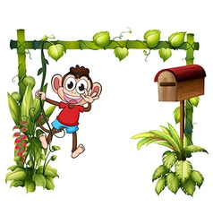 A monkey with a wooden mailbox vector image