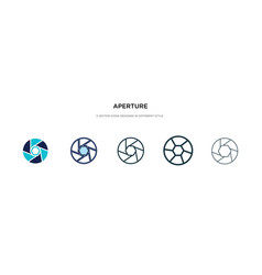 Aperture icon in different style two colored and vector