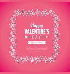 Bicycles frame decoration to valentine celebration vector