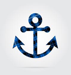 Blue black tartan isolated icon - boat anchor vector