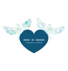 Blue line art flowers birds holding heart vector