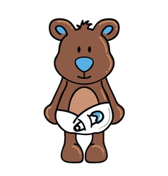 Boy bear wearing diapers vector image