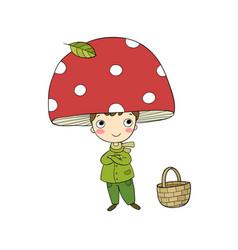 boy gnome in mushroom cap vector image