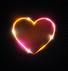 bright heart background romantic neon sign vector image