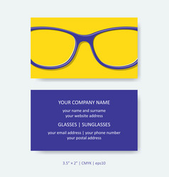 business card template simple eye glasses design vector image