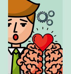 businessman cartoon creativity brain love vector image
