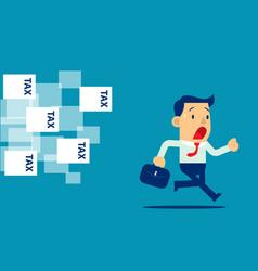 Businessman running away from tax concept vector