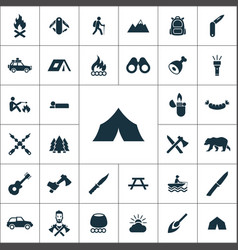 Camping icons universal set for web and ui vector