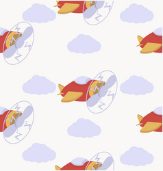cartoon air plane seamless pattern vector image