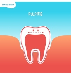 Cartoon bad tooth icon with pulpitis vector