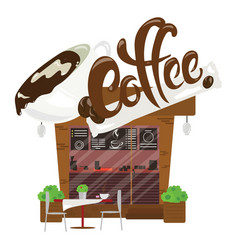 Cartoon coffee shop small cafe business vector