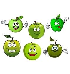 Cartoon fresh green smith apple fruits vector image