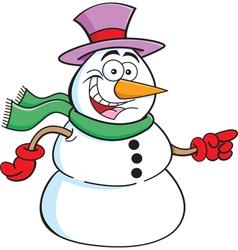 Cartoon Pointing Snowman vector image vector image