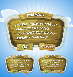 Cartoon wood agreement panel for ui game vector