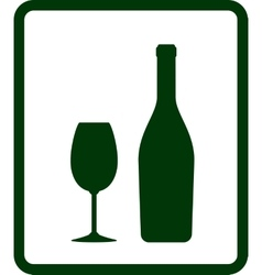champagne icon with bottle and glass vector image