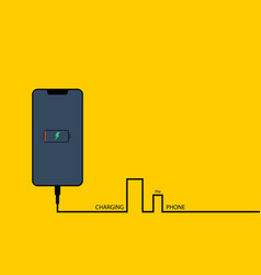 charging the phone phone with battery on yellow vector image