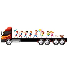 Children in the band on lorry truck vector image