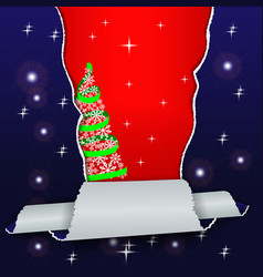 christmas winter background with torn paper and a vector image